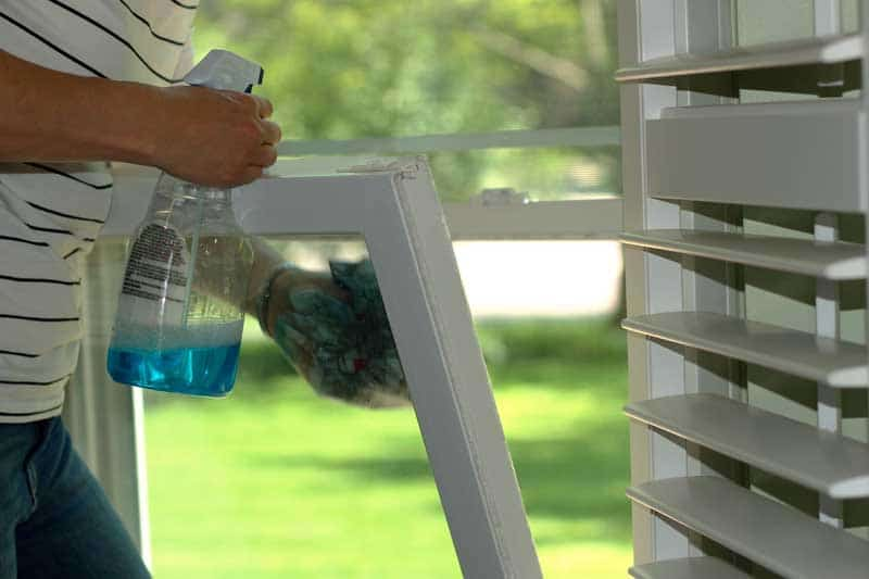 Exterior window cleaning with tilt-in windows.