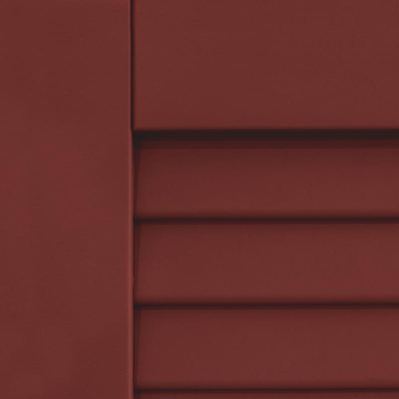 Dark red shutters for outdoor windows.