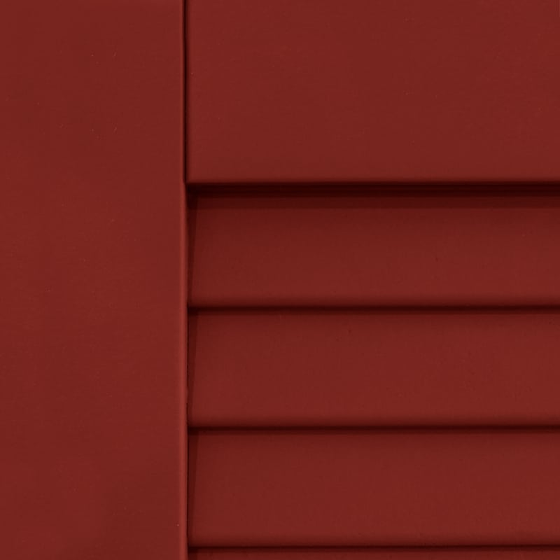 Outside red shutters for windows.