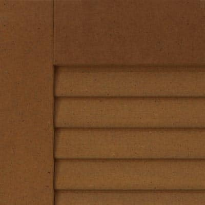 Outdoor louvered composite shutters for windows.