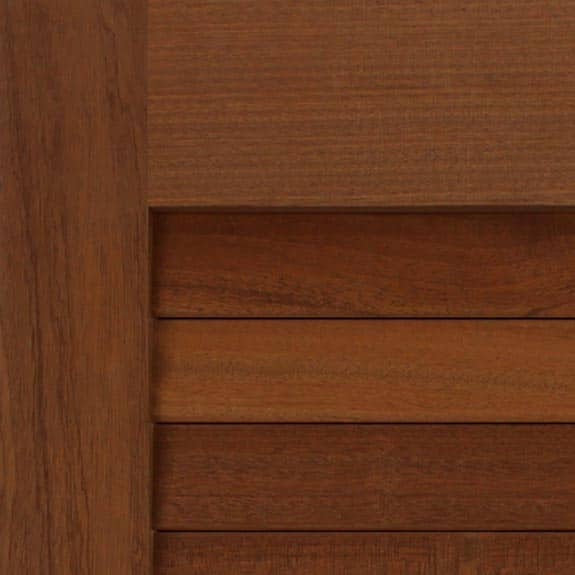 Mahogany wood exterior shutters zoom view.
