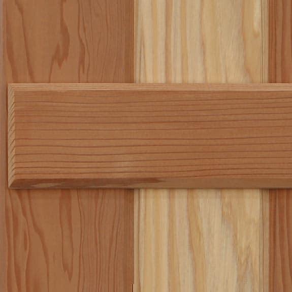 California Redwood wood board & batten shutter style.