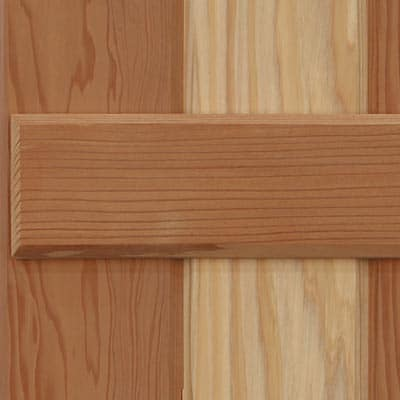 Premium wood board and batten exterior shutters.