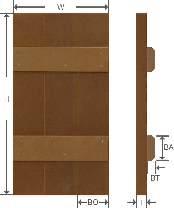 Board and batten composite exterior shutter specifications.