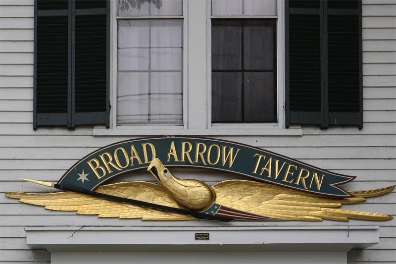 New England shutter horns on exterior shutters above the Broad Arrow Tavern.