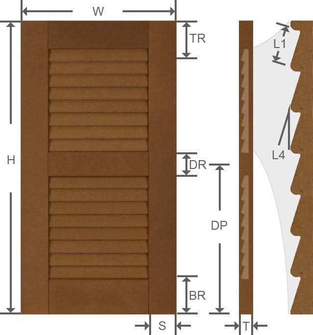 Composite louvered exterior shutter width and height measurements.