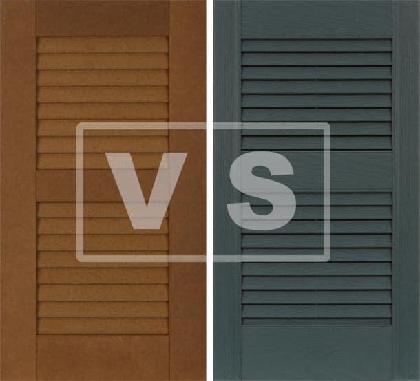 Exterior composite vs vinyl shutters.