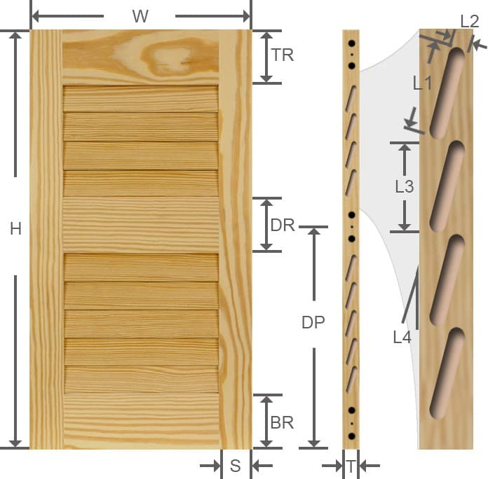 Louvered wood pine exterior shutter specs.
