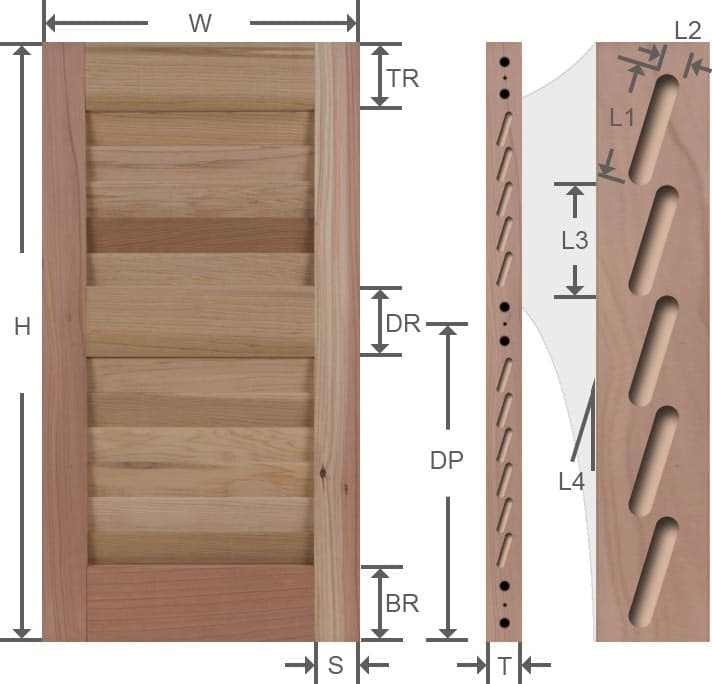 Wood louver exterior shutters measure width and height dimensions.