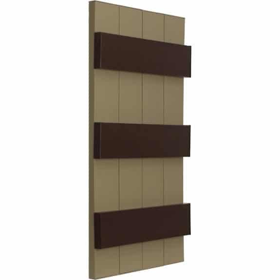 Exterior vinyl brown board and batten shutter.