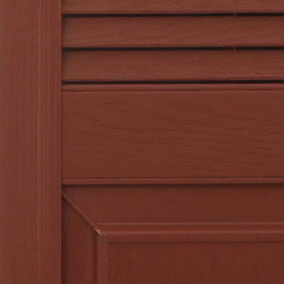Combo-exterior vinyl shutters in red zoom view.