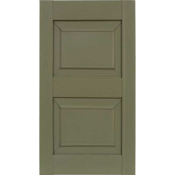 Outdoor raised panel vinyl shutters in sage green.