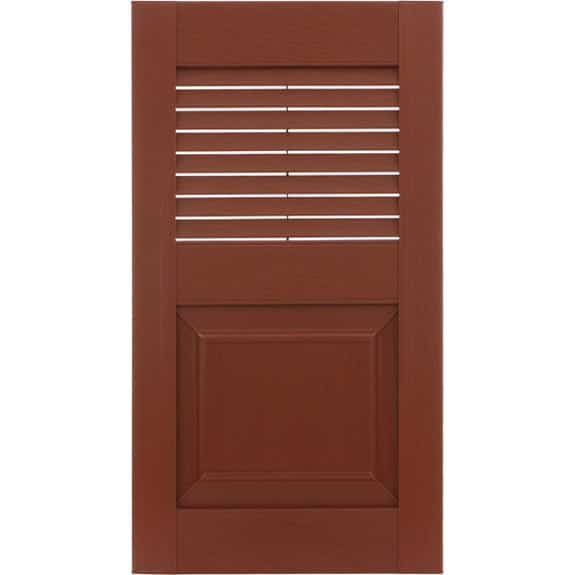 Red exterior vinyl shutters with louvers and raised panel.