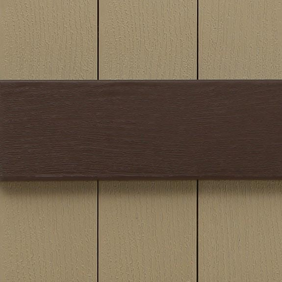 Vinyl board and batten exterior shutters.