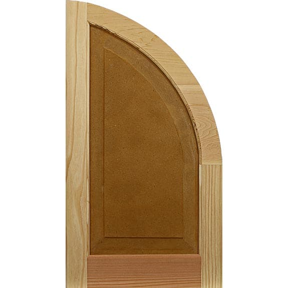 Wood arch top exterior shutter with raised panel.