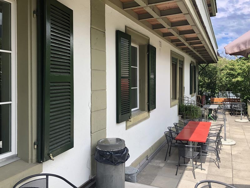 Louvered shutters on a Swiss cafe.
