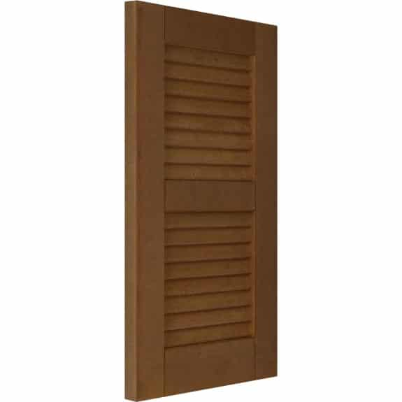 Exterior composite louvered shutters for house windows.