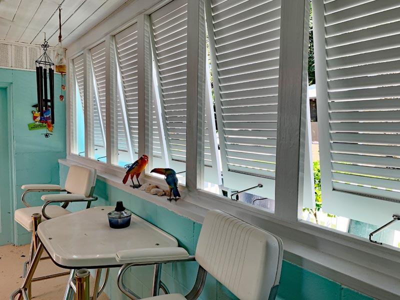 Tropical Bahama shutters inside view.
