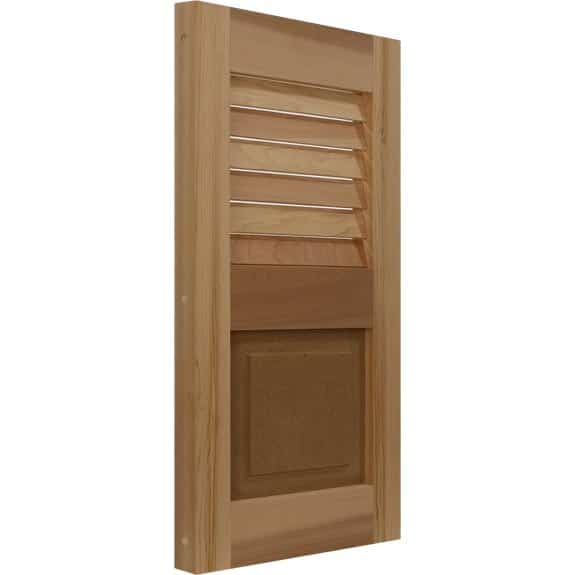 Combination Cedar exterior shutter with louvers and raised panel.