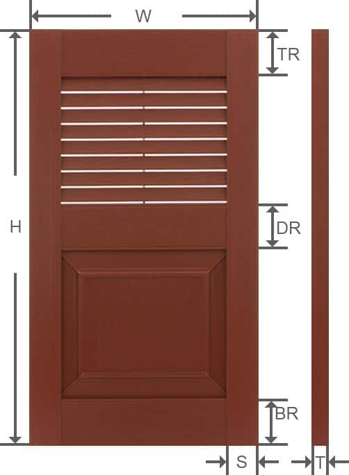 Combo vinyl decorative house shutter specifications.