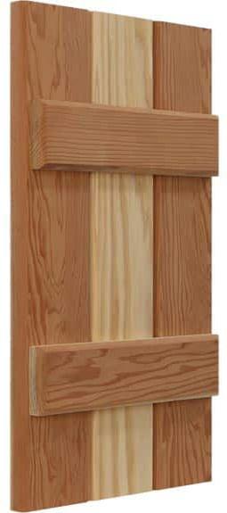 Solid board and batten window shutters.