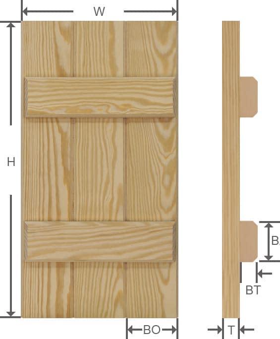 Wooden board and batten shutter specifications.