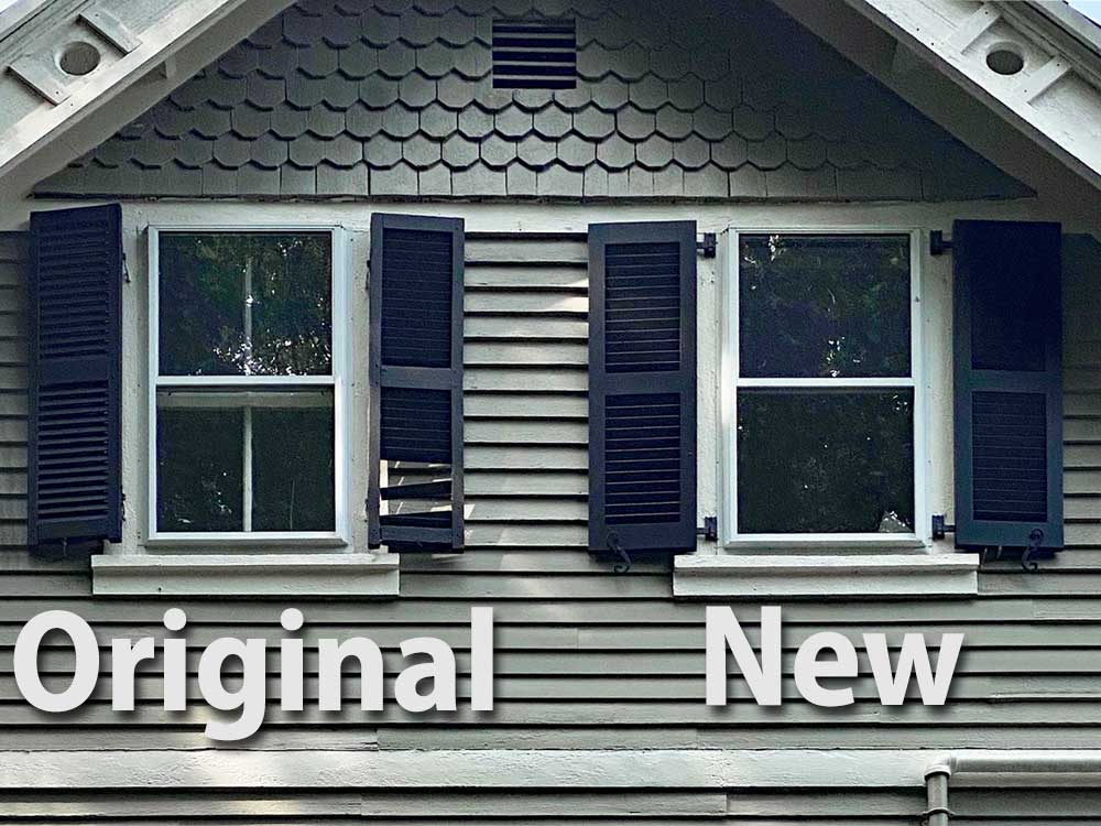 New replacement shutters for exterior windows.