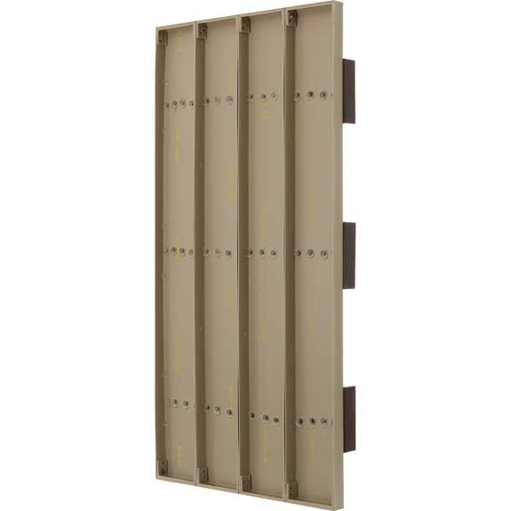 Back of vinyl board and batten exterior shutters.