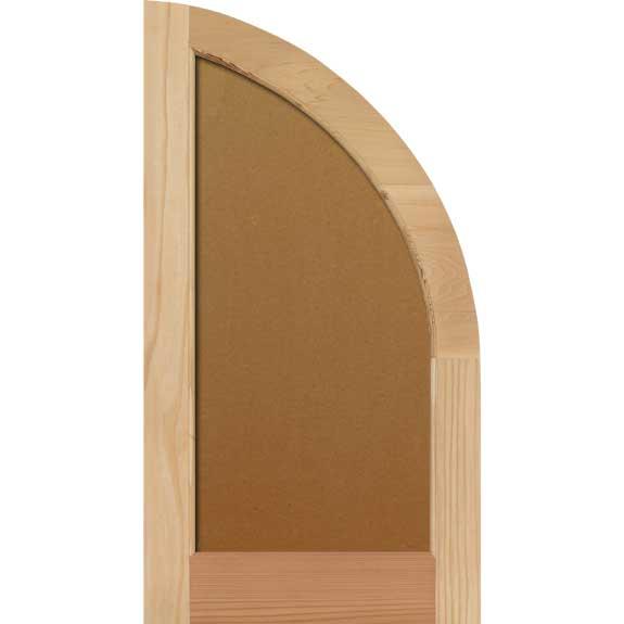 Arch top wood flat panel exterior shutter.