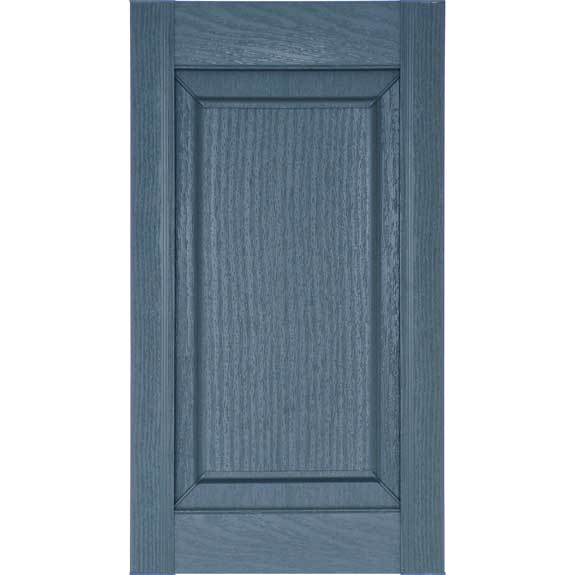 Single wide blue vinyl shutter with raised panel and no divider rail.