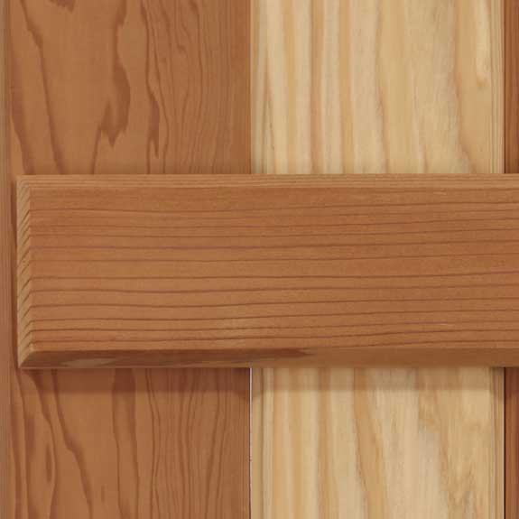 Solid wood cedar board & batten exterior shutter.