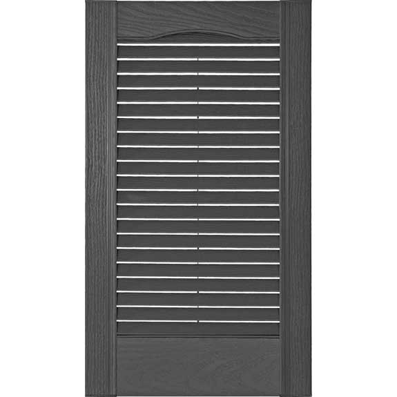 Vinyl louvered shutter with cathedral top and no divider rail.