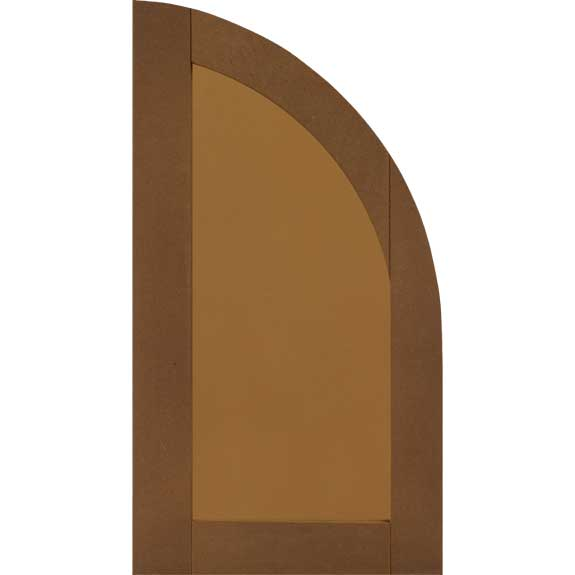 Composite flat panel arch top outdoor window shutter.