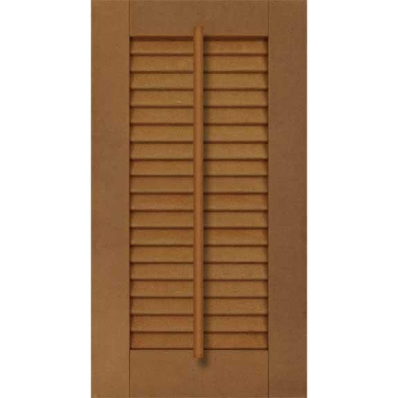 Exterior composite louvered shutter with faux tilt bar.