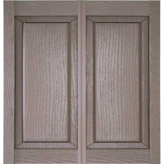 Double wide vinyl raised panel shutters.