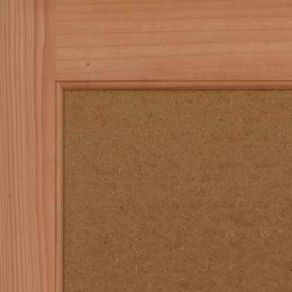 Wooden flat panel shutter close view.