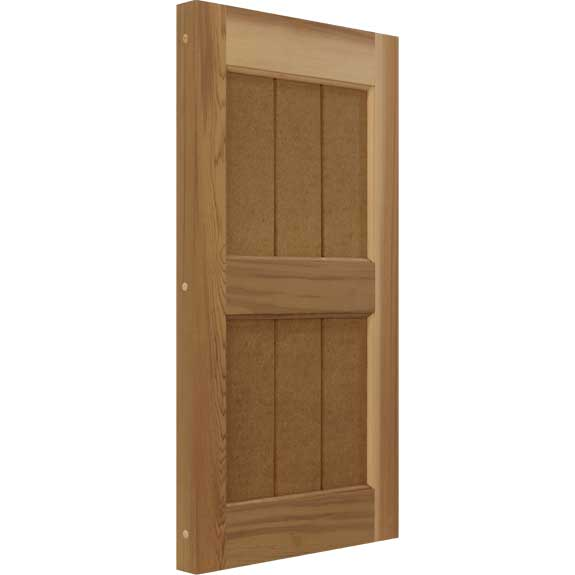 Western Red Cedar wooden exterior shutters for home installation.