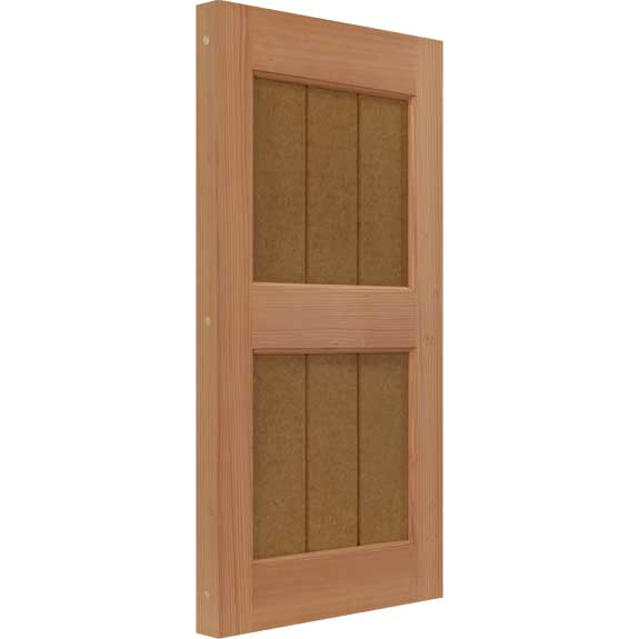 Groove panel shaker shutter constructed from solid wood.