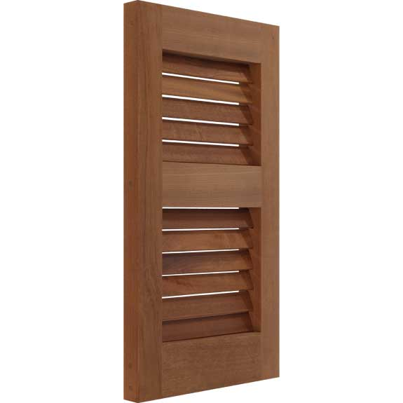 Mahogany exterior shutter with louvers side view.