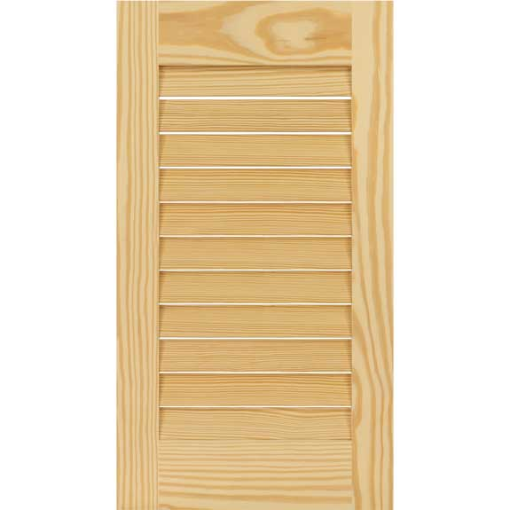 Builder grade wood louvered shutters without a divider rail for windows.
