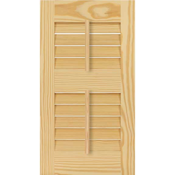 Builder grade wood shutters with louvers and tilt bar.
