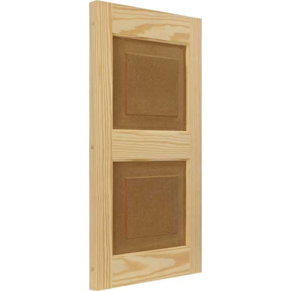 Wood raised panel outdoor shutter with composite inserts.