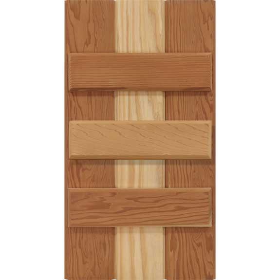Board and batten exterior shutter with three battens.