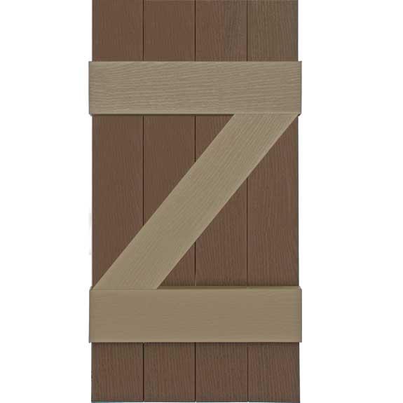 Exterior z-pattern board and batten shutter.