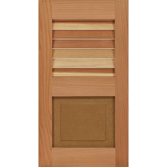 Best wood exterior shutter with louvers on the top and raised panel bottom.